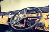 Interior of vintage car ( Filtered image processed vintage effec — Stock Photo