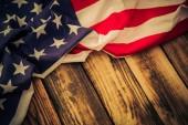 Bandera americana de fondo madera — Foto de Stock