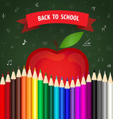 Welcome back to school with Apple and Color pencils background,  — Stock Vector