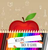 Welcome back to school with paper note, vector illustration. — Stock Vector