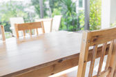 Wood table at restaurant — Stock Photo
