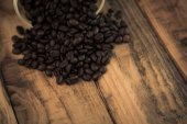 Coffee on wooden table — Stock Photo