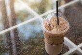 Ice coffee close up — Stock Photo
