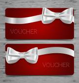 Gift vouchers with ribbons — Stock Vector