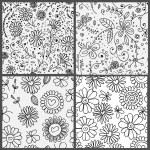 4 patrones florales — Vector de stock  #67572987