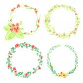 4 floral frames — Stock Vector