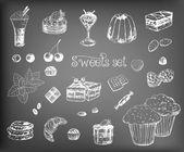 Hand-drawn desserts — Stock Vector