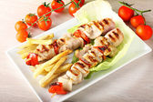 Skewers of mixed meat — Stock Photo