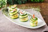 Stuffed zucchini rolled with cream cheese — Stock Photo