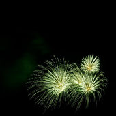 Green fireworks border on the black sky background with copyspac — Stock Photo
