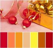 Christmas Decoration on a red  background and colour palette — Stock Photo