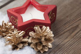 Wooden background with winter snow  and Christmas Decorations on — Stock Photo