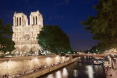Notre Dame cathedral at night with people — Stock Photo