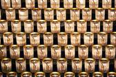 Kerzen-hintergrund in der kathedrale notre dame in paris beleuchtet — Stockfoto