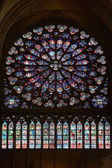 Rose window in Notre Dame cathedral in Paris — Stockfoto