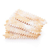 Chiacchiere, italian Carnival pastry on white — Stock Photo
