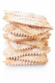 Chiacchiere, italian Carnival pastry pile on white — Stock Photo