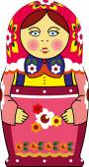 白で隔離されるマトリョーシカ人形 — ストックベクタ