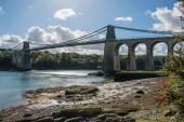 A view of the historic Menai suspension bridge spanning the Mena — Stock Photo