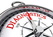 Diagnostics red word on conceptual compass — Stock Photo