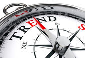 Trend prediction conceptual compass — Stock Photo