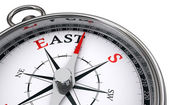 East word indicated by compass — Foto de Stock