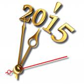 New year 2015 and golden clock hands on white background — Stockfoto