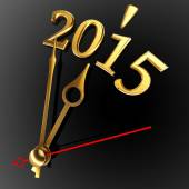 New year 2015 and golden clock — Stok fotoğraf