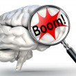 Boom explosion word on magnifying glass and human brain — Stock Photo #65909173