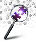 Find solution concept with magnifying glass and puzzle — Stock Photo