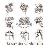Presents and flowers sketch collection. — Stock Vector