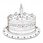 Holiday cake with candle. — Stock Vector