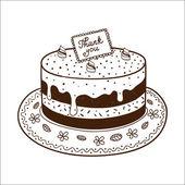 Torta bolo saboroso com placa de identificação de ação de graças. — Vetor de Stock