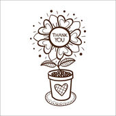Flower in a pot with thank you text. — Stock Vector