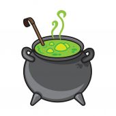 Halloween cartoon kettle with potion isolated on white. — ストックベクタ