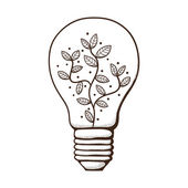 Light bulb with leaves within. — Stock Vector