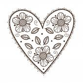 Heart with leaves and flowers. — Stockvector