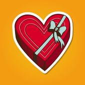 Heart present box with bow. — Vetor de Stock