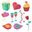 Saint Valentines Day objects set. — Stock Vector #62836339