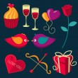 Saint Valentines Day objects set. — Stock Vector #62836341