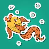 Golden fish character. — Stock Vector
