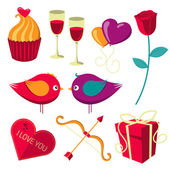 Saint Valentines Day objects set. — Stock Vector