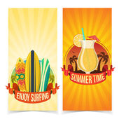 Surfing and partying banners. — Stock Vector