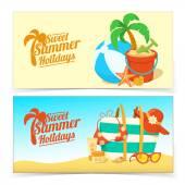 Sea shore and beach accessories. — Stock Vector
