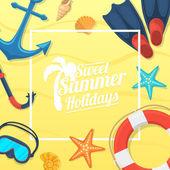 Sea shore and swimming accessories. — Stock Vector