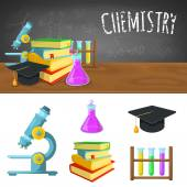 Chemistry backdrop and icons. — Stock Vector