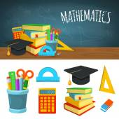 Icone e sfondo di matematica. — Vettoriale Stock