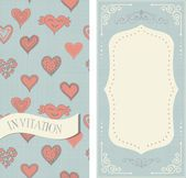 Set of invitation cards with doodle hearts on vintage colors — Stock Vector