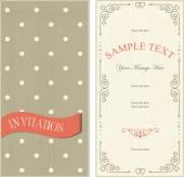 Set of invitation cards on vintage polka dots background — Stock Vector