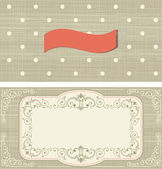 Set of invitation cards on polka dots background with vintage fr — Stock Vector